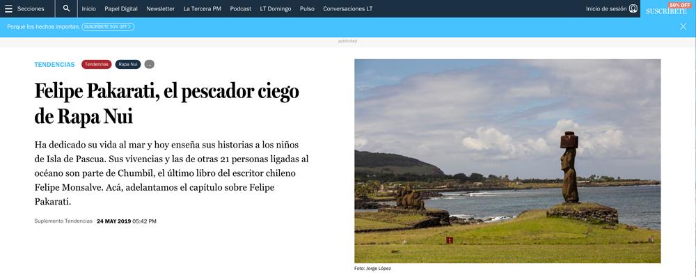 La Tercera / Felipe Pakarati, el pescador ciego de Rapa Nui