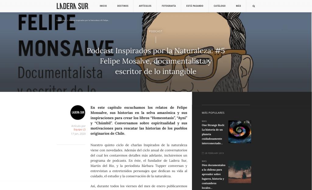 Ladera Sur / Podcast Inspirados por la Naturaleza: #5 Felipe Mosalve, documentalista y escritor de lo intangible