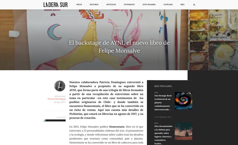 Ladera Sur / El backstage de AYNI, el nuevo libro de Felipe Monsalve