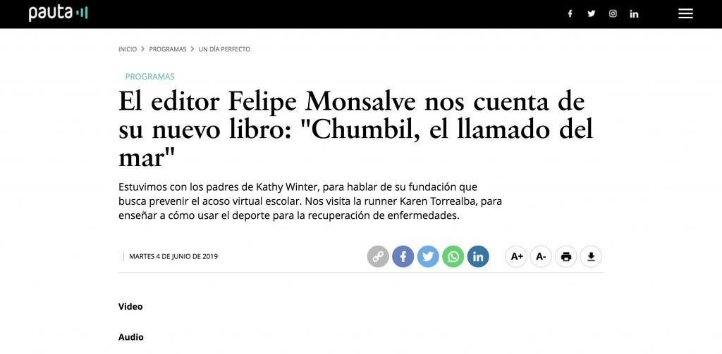 Pauta / El editor Felipe Monsalve nos cuenta de su nuevo libro: «Chumbil, el llamado del mar»