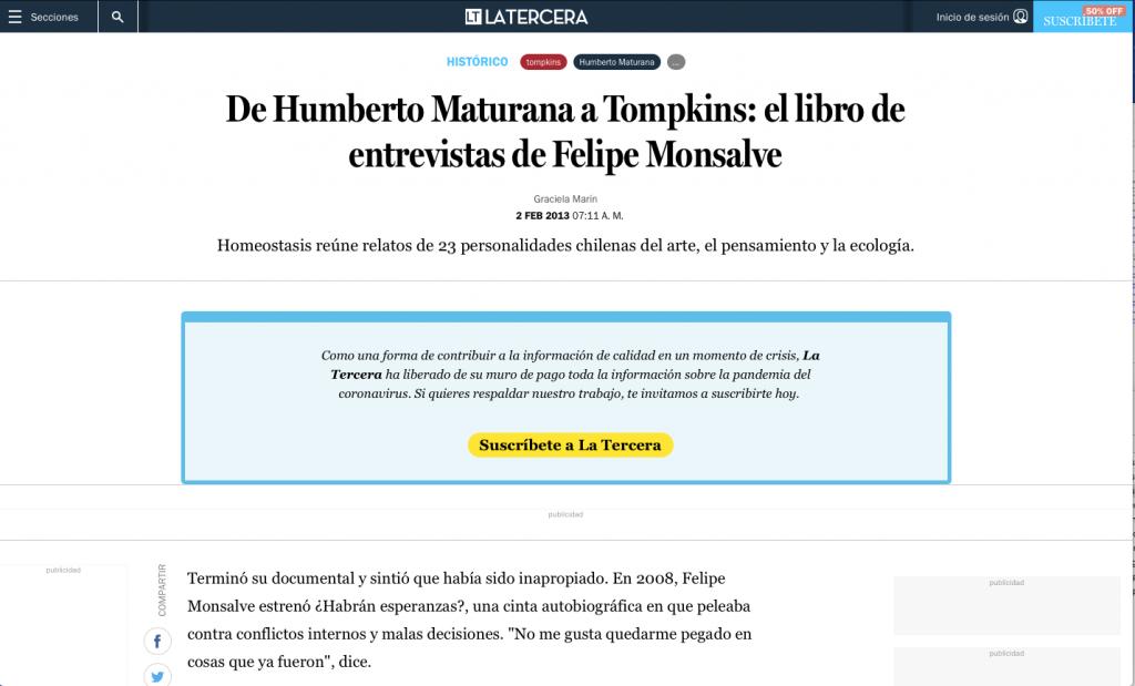 La Tercera / De Humberto Maturana a Tompkins: el libro de entrevistas de Felipe Monsalve